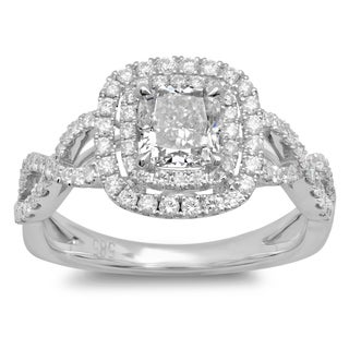 Azaro 14k White Gold 1 1/2ct TDW Cushion-cut Braided Diamond Halo Engagement Ring (G-H, SI2-I1)