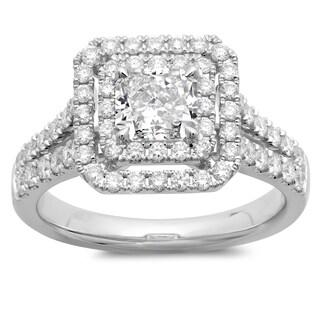 Azaro 14k White Gold 1 4/5ct TDW Cushion-cut Double Halo Diamond Engagement Ring (G-H, SI2-I1)