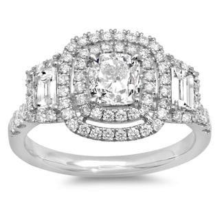 Azaro 14k White Gold 2 1/10ct TDW Cushion-cut Diamond Vintage Style Engagement Ring (G-H, SI2-I1)