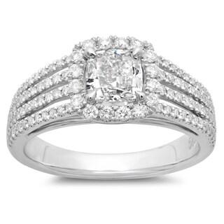 Azaro 14k White Gold 1 1/2ct TDW Cushion-cut Diamond Multi-row Engagement Ring