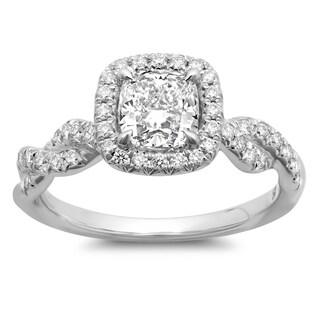 Azaro 14k White Gold 1 3/8ct TDW Cushion-cut Braided White Diamond Halo Engagement Ring (G-H, SI2-I1)