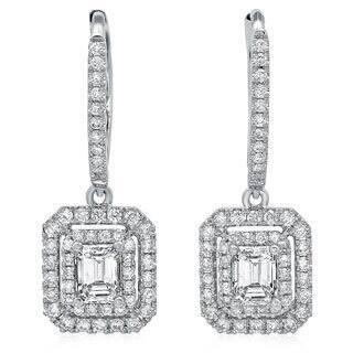 Azaro 14k White Gold 1 1/8ct TDW Emerald-cut Diamond Double Halo Earrings|https://ak1.ostkcdn.com/images/products/8968865/14k-White-Gold-1-1-8ct-TDW-Emerald-cut-Diamond-Double-Halo-Earrings-G-H-SI2-I1-P16177720.jpg?impolicy=medium