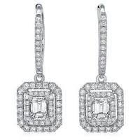 Azaro 14k White Gold 1 1/8ct TDW Emerald-cut Diamond Double Halo Earrings