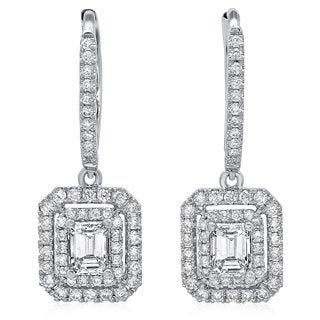 Azaro 14k White Gold 1 1/8ct TDW Emerald-cut Diamond Double Halo Earrings