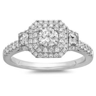 Azaro 14k White Gold 7/8ct TDW Round-cut White Diamond Vintage Halo Engagement Ring (G-H, SI2-I1)