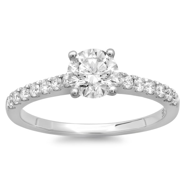 Azaro 14k White Gold 1ct TDW Round Diamond Solitaire Engagement Ring