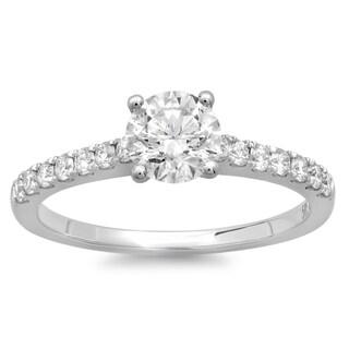 Azaro 14k White Gold 1ct TDW Round Diamond Solitaire Engagement Ring