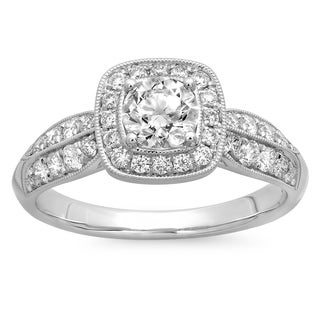 Azaro 14k White Gold 1ct TDW Round Diamond Halo Engagement Ring (G-H, SI2-I1)