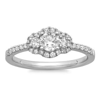Azaro 14k White Gold 5/8ct TDW Round Diamond Halo Engagement Ring (G-H, SI2-I1)
