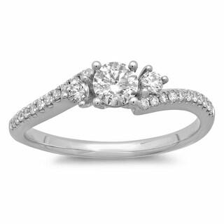 Azaro 14k White Gold 1/2ct TDW Round Diamond Engagement Ring