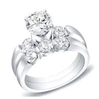Auriya 14k Gold 2 1/2ct TDW Certified 3-Stone Round Diamond Bridal Ring Set