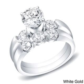 Auriya 14k Gold 2 1/2ct TDW Certified Round Diamond Bridal Ring Set