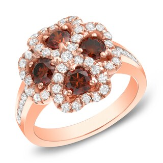 Auriya 14k Rose Gold 1 7/8 ct TDW Brown Diamond Four Leaf Clover Ring (G-H, SI1-SI2)