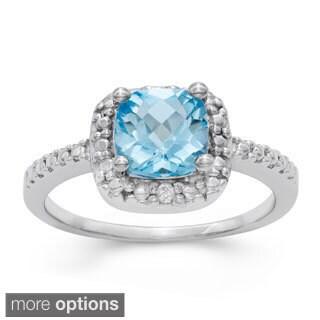 Gioelli Sterling Silver Cushion-cut Checkerboard Gemstone Ring