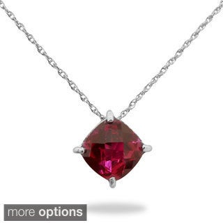 Gioelli Sterling Silver Cushion-cut Created Gemstone Basket Necklace
