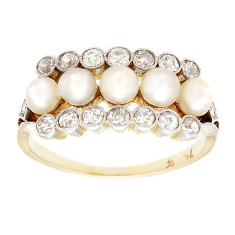 Pre-owned 18k Yellow Gold 1/2ct TDW Natural Pearl and Diamond Antique Estate Ring (I-J, SI1-SI2) (3-