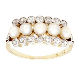Pre-owned 18k Yellow Gold 1/2ct TDW Natural Pearl and Diamond Antique Estate Ring (I-J, SI1-SI2) (3-4 mm)