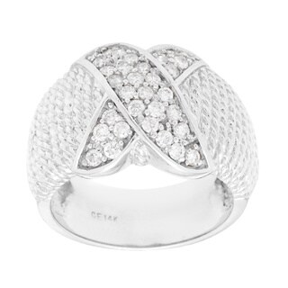 Pre-owned 14k White Gold 1/2ct TDW Wide Band Estate Ring (I-J, SI1-SI2)
