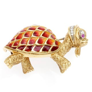 Pre-owned 18k Yellow Gold 1/5ct TDW Estate Turtle Brooch (G-H, SI1-SI2)