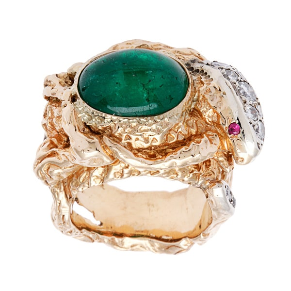 Pre-owned 14k Yellow Gold 1/2ct TDW Giant Emerald Snake Cocktail Ring (I-J, SI3)
