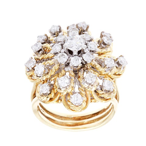 Pre-owned 18k Yellow Gold 1 1/2ct TDW Estate Cluster Ring (H-I, VS1-VS2)