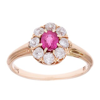 Pre-owned 14k Yellow Gold 3/5ct TDW Antique Ruby Cocktail Ring (H-I, SI1-SI2)