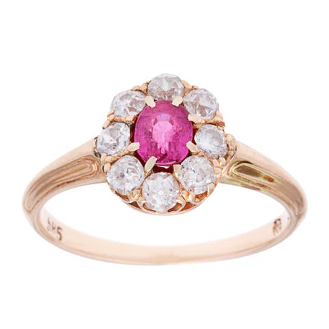 14k Yellow Gold 3/5ct TDW Antique Ruby Cocktail Ring (H - I, SI1 - SI2) Size - 4.75