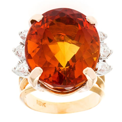 Pre-owned 18k Yellow Gold 3/4ct TDW Diamond and Giant Citrine Cocktail Estate Ring (G-H,SI1-SI2)