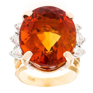 Pre-owned 18k Yellow Gold 3/4ct TDW Diamond and Giant Citrine Cocktail Estate Ring (G-H,SI1-SI2)|https://ak1.ostkcdn.com/images/products/8969061/18k-Yellow-Gold-3-4ct-TDW-Diamond-and-Giant-Citrine-Cocktail-Estate-Ring-G-H-SI1-SI2-P16177873.jpg?impolicy=medium