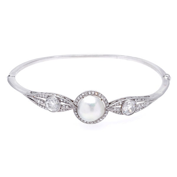 Pre-owned Platinum 2ct TDW Natural Pearl and Diamond Estate Bangle. Opens flyout.