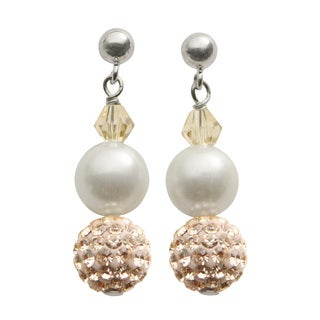 Pearls For You Sterling Silver White Shell Pearl & Peach Crystal Bead Dangle Earrings (8 mm)