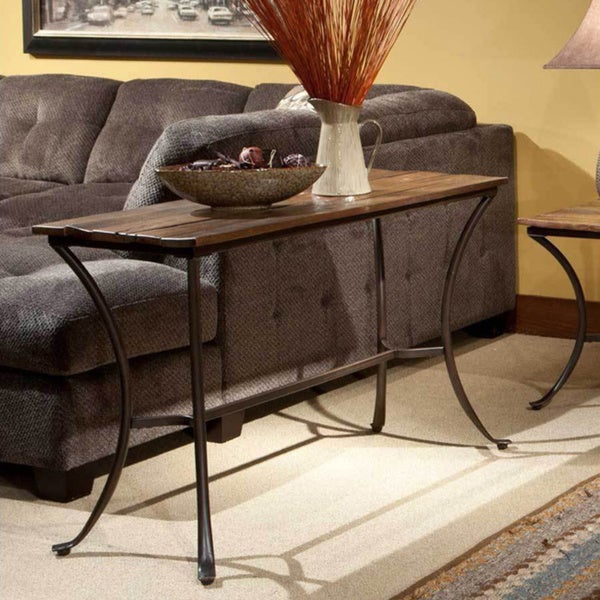 Emerald Reclaimed look Wood and Metal Sofa Table Free