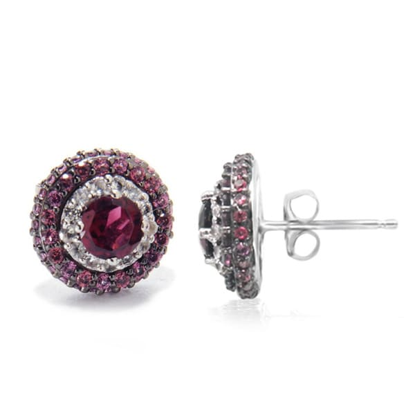 Rhodolite Garnet Sterling Silver Gemstone Stud Earrings Jewelry Gift for Her