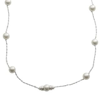 Pearls For You Sterling Silver White Shell Pearl and Crystals Station Necklace (8 mm, 4 mm)