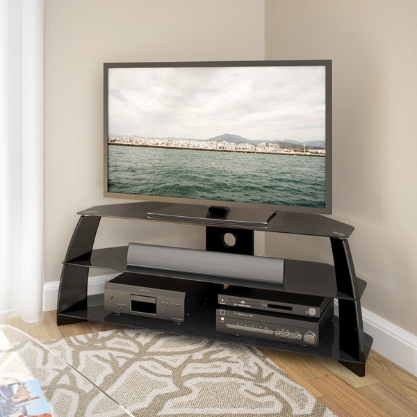 Shop Corliving Taylor Glossy Black Corner Tv Stand With Glass