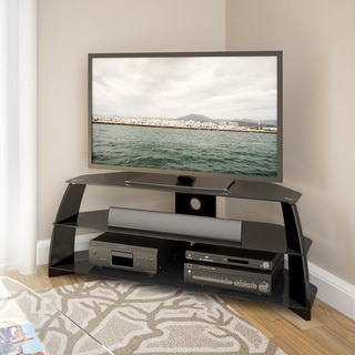 CorLiving Taylor Glossy Black Corner TV Stand with Glass Shelves