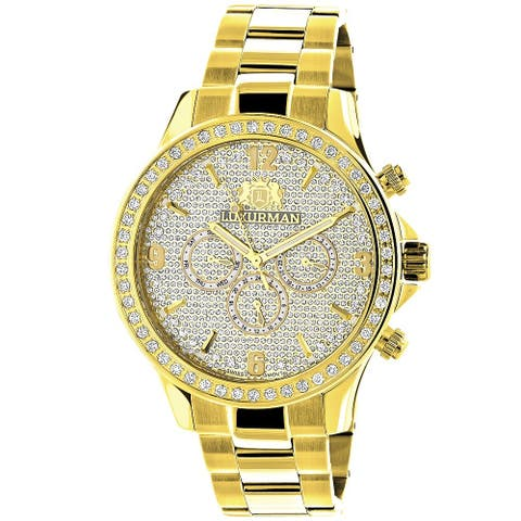 Luxurman Men's Liberty Yellow Gold-Plated Diamond Watch With Metal Band and Extra Leather Straps