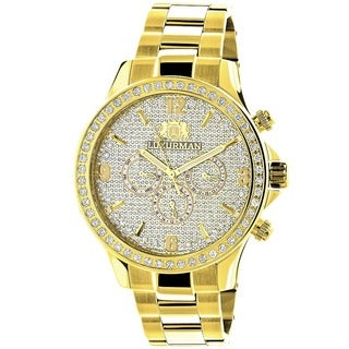 Luxurman Men's Liberty 18k Yellow Gold-plated Diamond Watch with Metal Band and Extra Leather Straps