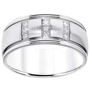 Cambridge Stainless Steel Mens 1 8ct TDW 9mm Diamond Wedding Band