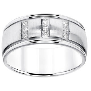 Cambridge Stainless Steel Men's 1/8ct TDW 9mm Diamond Wedding Band