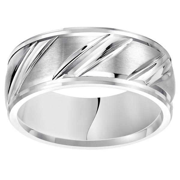 Cambridge White Tungsten Men's Carbide Diagonal 9mm Comfort Fit Wedding Band