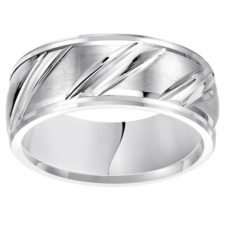 Cambridge White Tungsten Men's Carbide Diagonal 9mm Comfort Fit Wedding Band