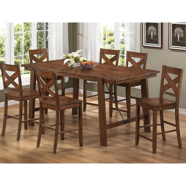 rustic pecan finish wood plank 7 piece counter height dining set