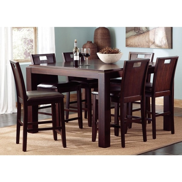Belveder Espresso Counter Height 7 Piece Dining Set Free
