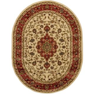 """Well Woven Medallion Traditional Ivory Oval Rug - 5'3"""" x 6'10"""""""