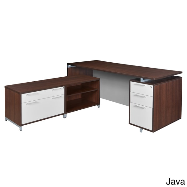 71-inch L-Desk with Lateral File/ Open Storage Cabinet Low Credenza