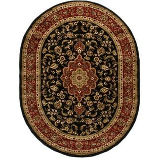 Medallion Traditional Kashan Formal Medallion Floral Black Oval Area Rug (5'3 x 6'10)
