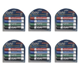 Expo Dry Erase Markers, 4 Markers: Red, Blue, Green & Black (6 Pack)