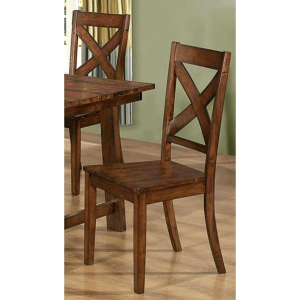Vintage Rustic Pecan Finish Dining Chairs Set Of 2