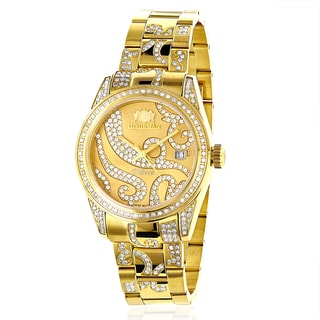 Luxurman Women's Tribeca Diamond 18k Yellow Gold-plated Watch with Metal Band and Extra Leather Stra